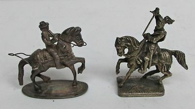 Pair Of Miniature Sterling Silver Armored Knight & Trumpeter Riding Horses