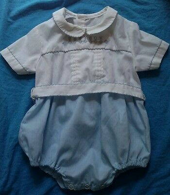 Vtg Baby Boy TODDLE TYKE Infant Romper Blue Outfit Embroidered 6-9? REBORN
