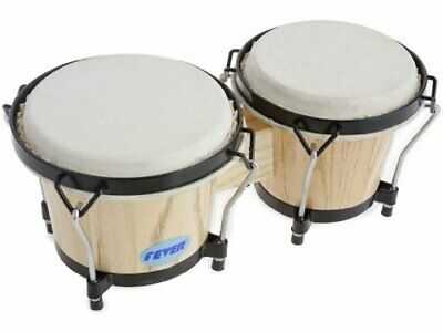 Fever Tunable Bongos 8 & 7 Inch with Black Rims Natural Finish