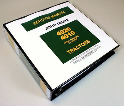 John Deere 4020 4010 4000 Tractor Service Technical Manual Repair Shop In Binder