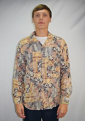 Vintage 80's 90's Men's Mod Abstract Print Rayon Casual Dress Shirt - Size L/XL