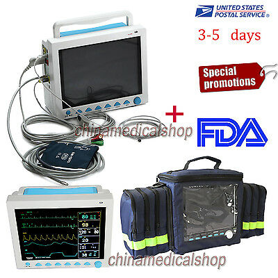 Portable ICU Patient Monitor Vital signs ECG/NIBP/SPO2/Resp/PR/TEMP+ Handbag FDA