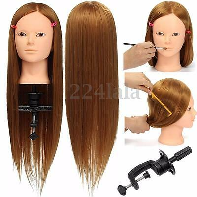 """24"""" Hairdressing Human Hair Practice & Makeup Head Training Mannequin + Clamp"""