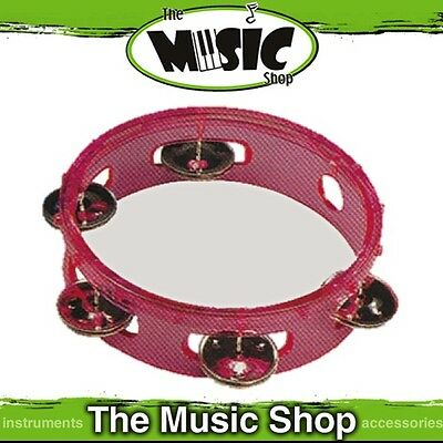"New CPK 6"" Transparent Pink Plastic Tambourine with Clear Plastic Head - ED270PK"