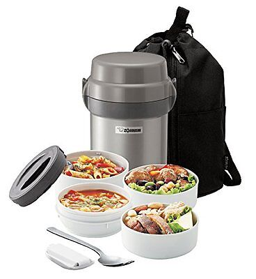 Zojirushi Mr Bento Stainless Steel Vacuum Lunch Jar Bag Insulated 4 Food Thermos