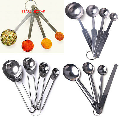 4ps Stainless Steel Measuring Cup Spoon Set Baking Scoop Teaspoon Kitchen Tool