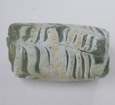 Perfect Tubular Late Celtic Danubian Glass Bead Green& Withe Chevron 28 Millimet