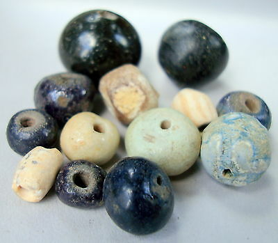 13 Persian Beads From Middle East 1St Millennium Bc.glass & Faience 9/17 Millim
