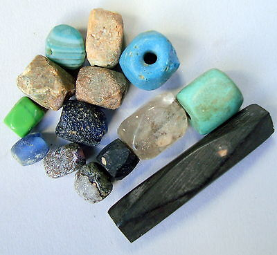 13 Old Antic Patined Islamic Ceramic&glass&stone Beads 8 To 42 Millimeter