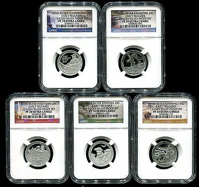2016 S Silver Quarter Proof Set NGC PF70 ER Early Releases National Parks 13PS