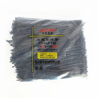 500PCS  3X200mm ( 8'' Inch) Black Self Lock Plastic Nylon Cable Ties Zip Wire