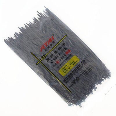 250PCS  4X250mm ( 10'' Inch) Black Self Lock Plastic Nylon Cable Ties Zip Wire