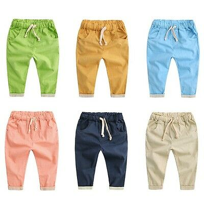 Toddler Kids Baby Boy Girl Harem Pants Cotton Linen Casual Long Trousers 2-7Y