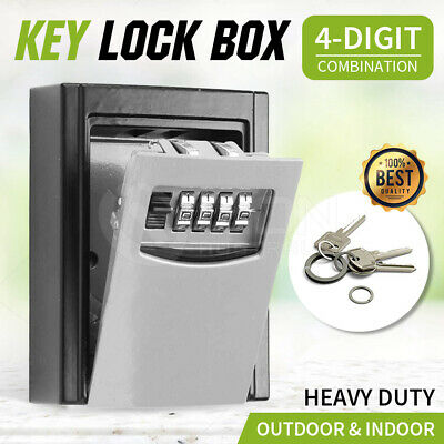 Wall Mount Key Lock Box with 4-Digit Combination Made of Weather Resistant Steel