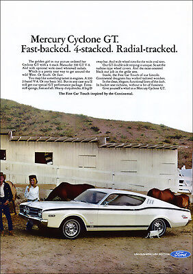 Mercury Cyclone Gt Fastback 68 Retro A3 Poster Print From Advert 1968
