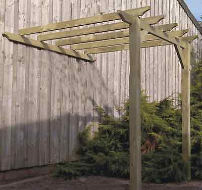 3.3m x 3.75m LEAN TO Garden Pergola with post anchors