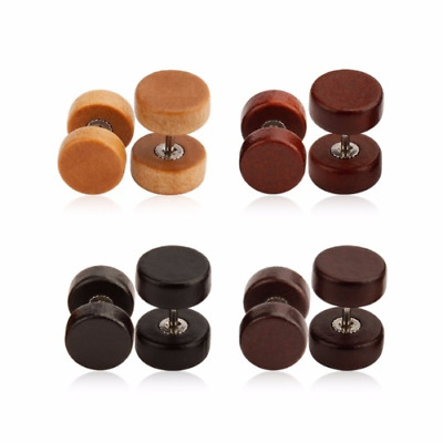 TIMBER FAKE CHEATER EAR PLUG Piercing Stud Ear Ring Jewellery WOODEN CH9