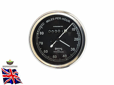 Vintage Smiths Speedometer Replica 0-80 Mph Black Face Fits Enfield, Norton, Bsa
