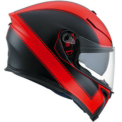 AGV K5 Enlace Full Face Motorcycle Motorbike Helmet - Matt Red / Black