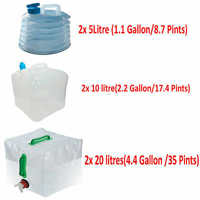 2x 5l/10//20L Camping Water Carrier Container Foldable Collapsible With Tap
