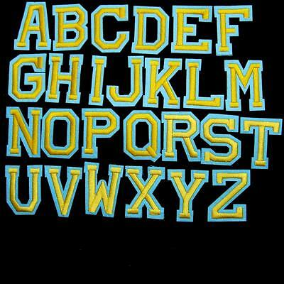 Gold Diy Letter English Alphabet Iron on Sew Patch Applique Embroidered School.