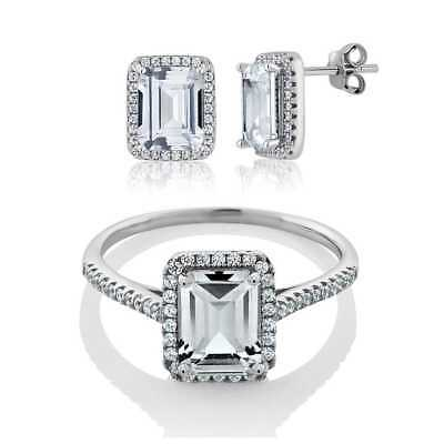 Vintage Women's 925 Sterling Silver Emerald Cut CZ Ring Set