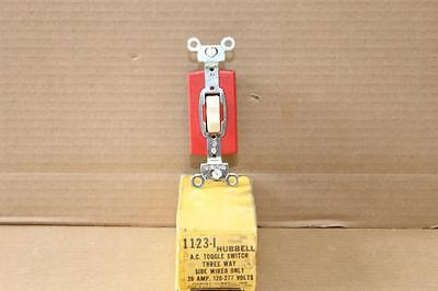 NOS Hubbell 1123-I Commercial Grade 20A Three Way Ivory Switch