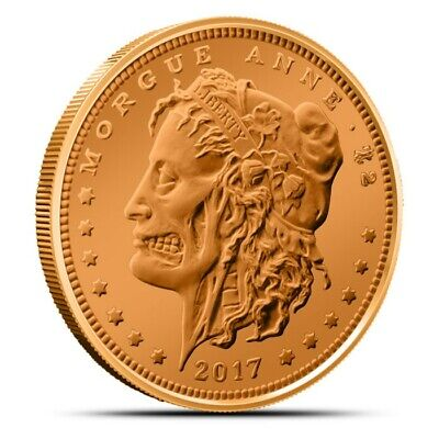 Zombucks Morgue Anne 1 oz .999 Copper BU Round USA Made Zombie Bullion Coin