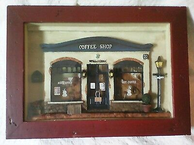 3D Miniature Rustic Coffee Shop Cafe Shadow Box Kitchen Wall Hanging