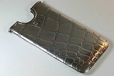 Antique Solid Hm Silver Card Case Crocodile Skin Pattern Birmingham 1903