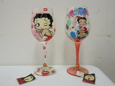 Betty Boop Wine Glasses set of 2 with tags still on Number 24003 and 20174