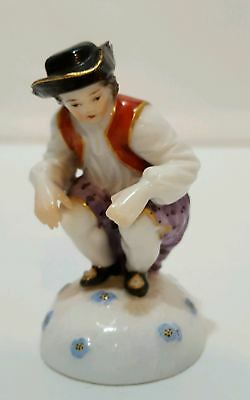 MEISSEN German Porcelain Figurine Crossed Swords Man w/ Gold Coin DUKANSCHEISSER
