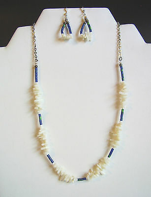Native American NAVAJO White Coral & Azurite Necklace & Earring Set - $60