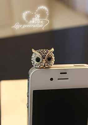 Black Owl Anti Dust Plug Cover Charm for Iphone/Android 3.5