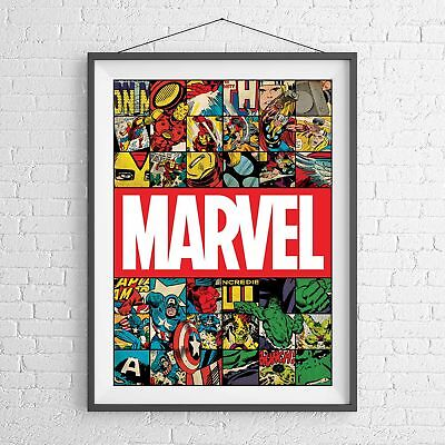 MARVEL SUPERHEROES RETRO COMIC POSTER PICTURE PRINT Sizes A5 to A0 **NEW**