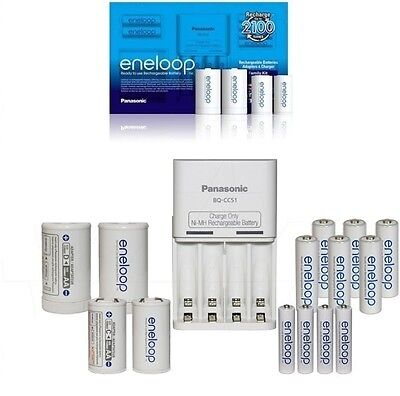 Panasonic Eneloop Family Pack Charger with 10 rechargeable batteries AA AAA C D