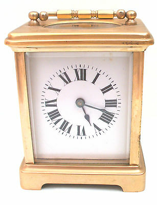 "French Brass Case Enameled Face Timepiece Carriage Clock GWO 4""H 3""W 2.5""D • EUR 218,85"