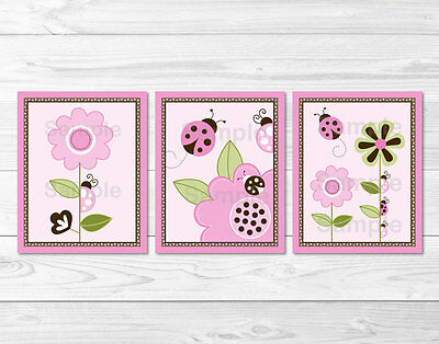 Pink Ladybug Flower Printable Nursery Wall Art