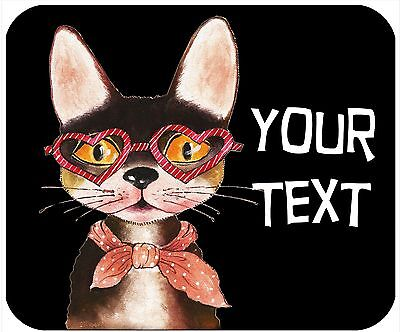 Mouse Pad Custom Thick Mousepad - Cat With Heart Glasses - Add Any Text Free