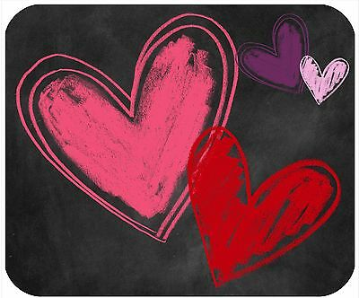 Mouse Pad Custom Personalized Thick Mousepad-Chalkboard Look Hearts-Any Text