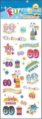 """Fantastic Fun Stickers """" 60Th Birthday"""" For Cards & Craft"""