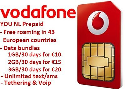 Vodafone YOU NL prepaid 4G SIM, No roaming costs in Europe and The Netherlands.