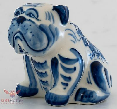 Porcelain English Bulldog  Dog Figurine Gzhel colors handmade