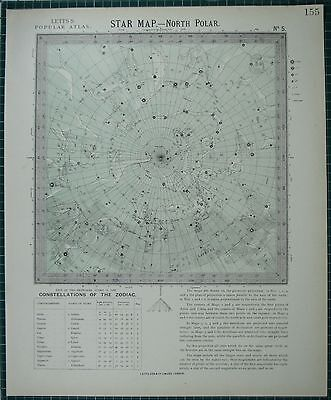 1883 Letts Star Map & Constellations ~ North Polar Cepheus Draco Ursa Astronomy