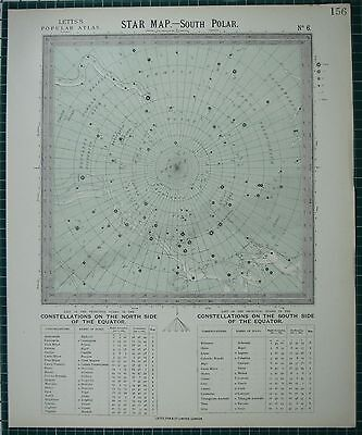1883 Letts Star Map & Constellations ~ South Polar Eridanus Centaurus Argo