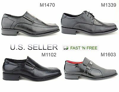 Men's Dress Shoes Slip-on Loafer Solid Formal Casual Lace Up Square Toe Black