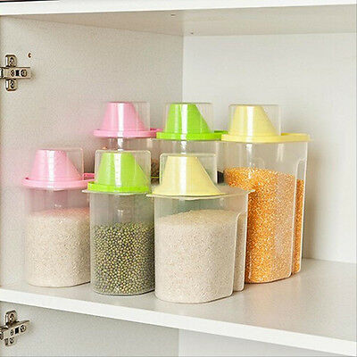 1.9/2.5L Kitchen Food Cereal Grain Bean Rice Plastic Storage Container Box New