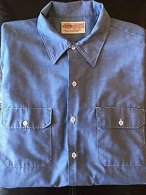 Vintage Dickies Since 1922 Blue Long Sleeve Work Shirt Made in USA 18x34/35 XL