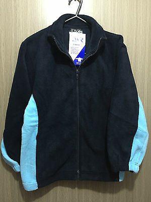BNWT Boys Girls Sz 12 LW Reid Navy Sky Blue Polar Fleece School Zip Front Jacket