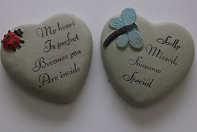 2 x Graveside Heart Plaque Words Stone  Grave Memorial 2 Different Designs.